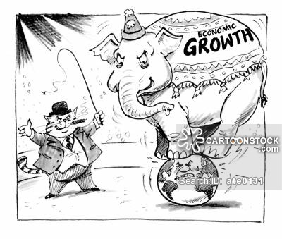 'Economic Growth' Elephant balancing on top of the world in a circus ring.  Accompanied by a 'fat cat' ring master.